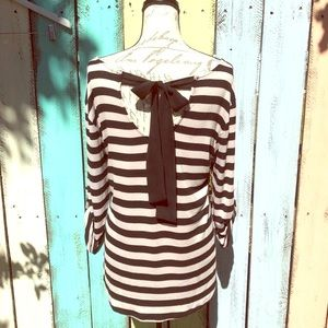 Striped Long Sleeve Top With Bow Detail Size  XL